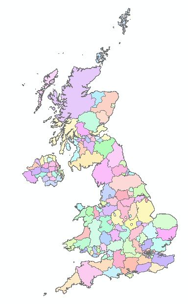 Shapefile of UK administrative counties